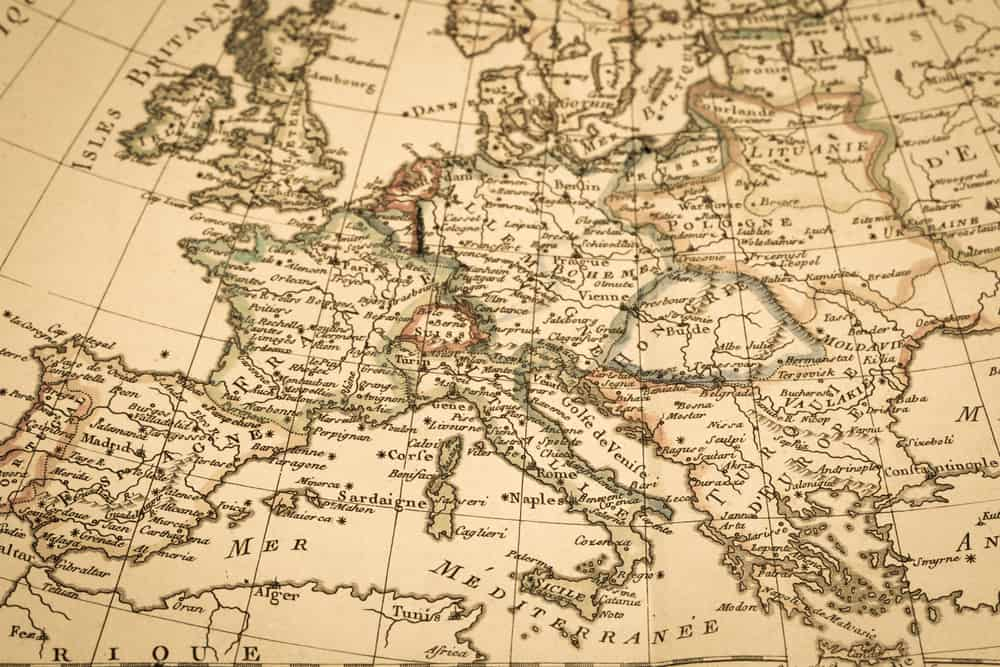 Antique old map Europe dominoes