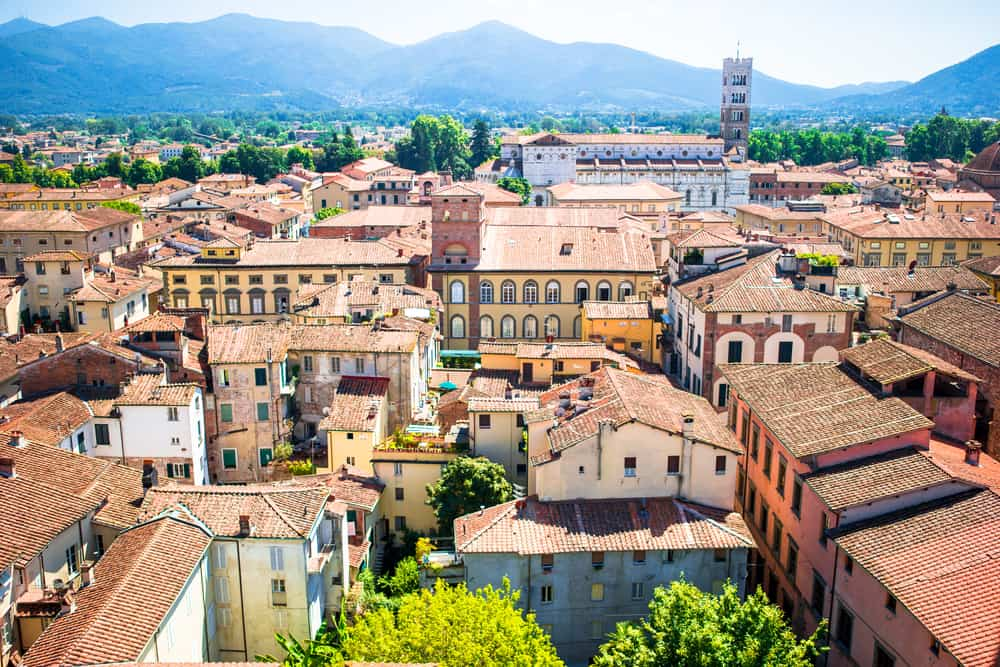 Beautiful view of ancient building with red roofs in Lucca, Italy sudoku