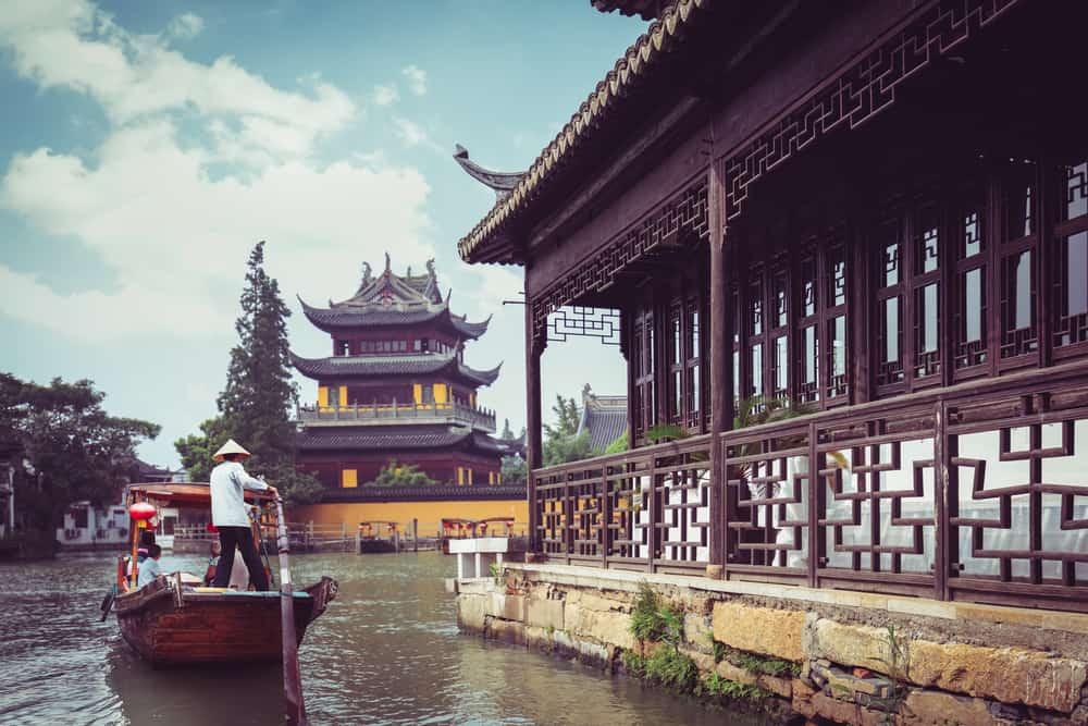 China traditional tourist boats at Shanghai Zhujiajiao town dominoes