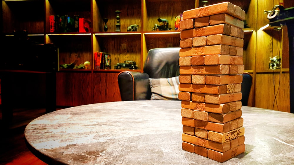 Jenga game. Set of tower games for kids and adults