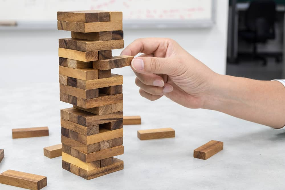 Jenga, the tower stack from wooden blocks