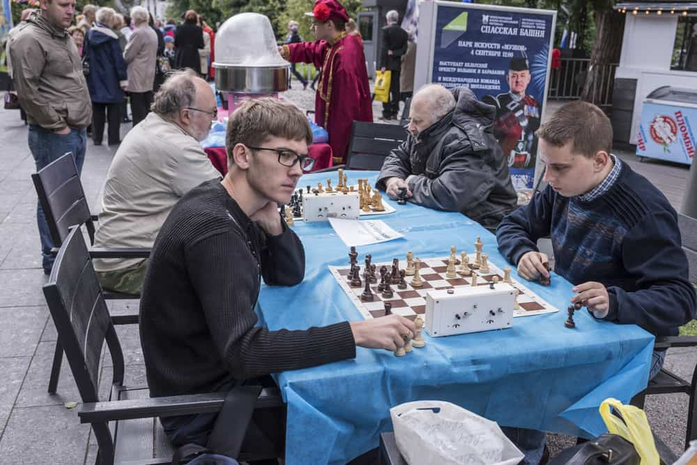 Moscow, Russia Men play chess in the park