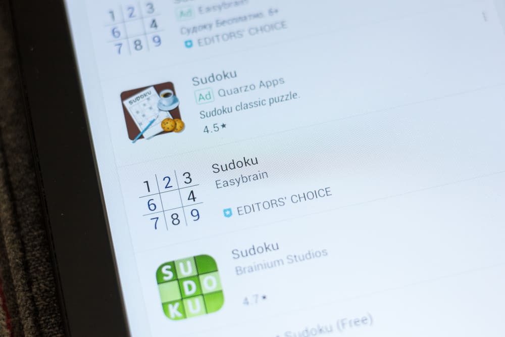 Sudoku icon in the list of mobile apps