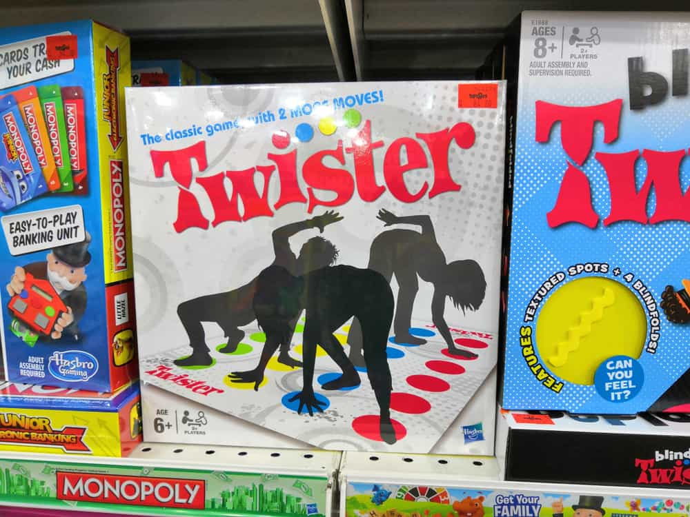Twister game display for sale at Toys R Us