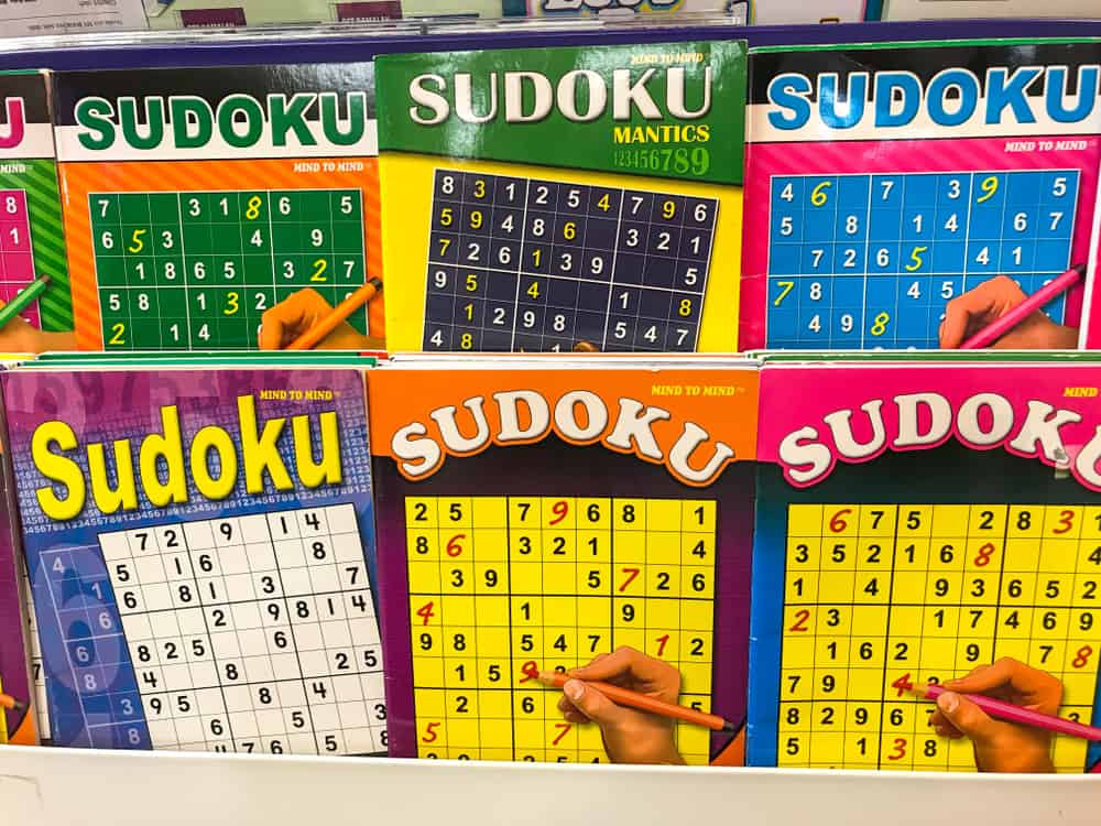 View of Sudoku puzzle books