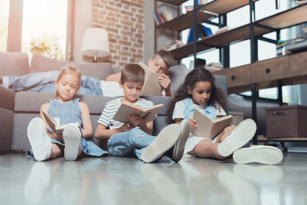 children reading books chess