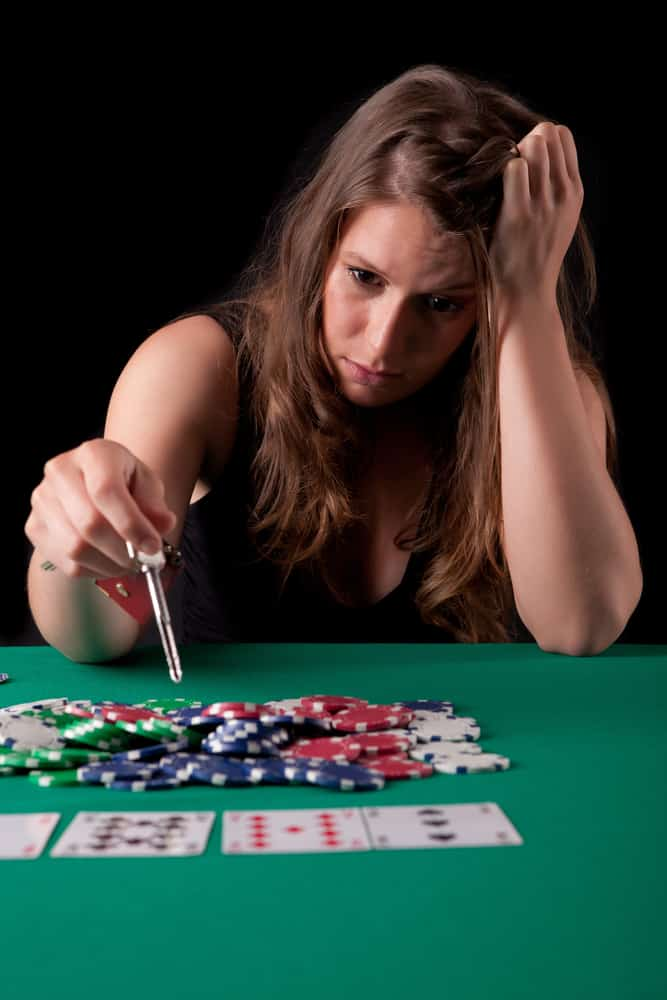 desperate woman gambling her house in texas hold'em poker game