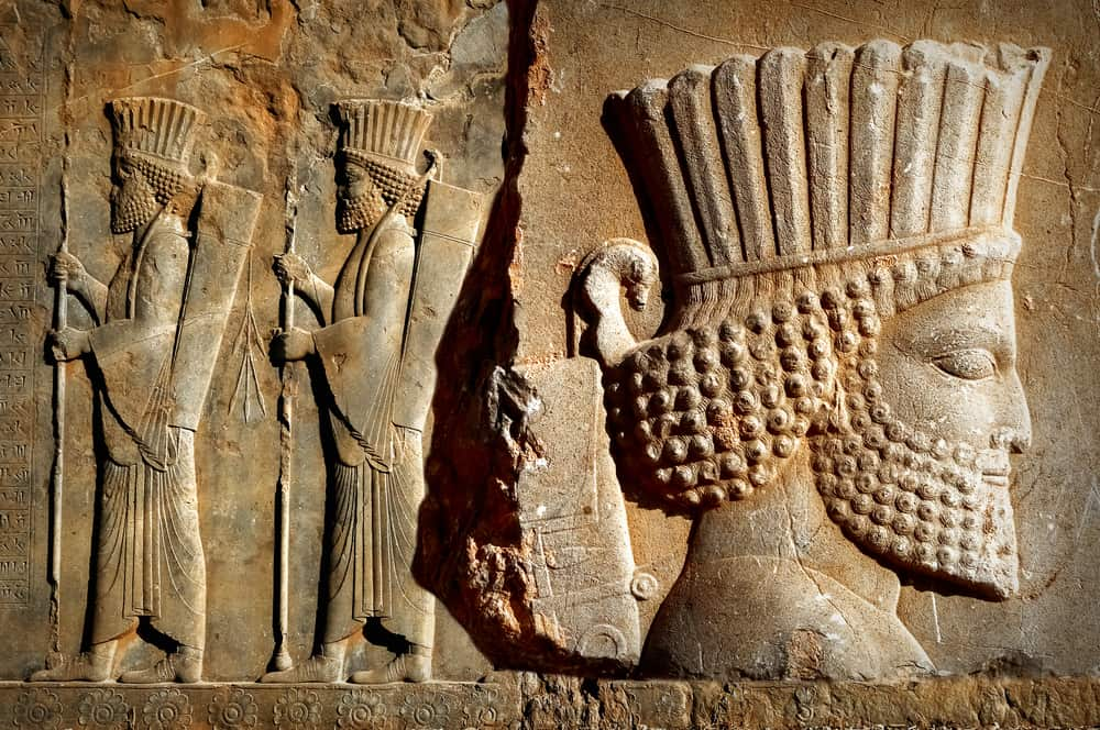 Ancient Persia. Bas-relief carved on the walls of old buildings
