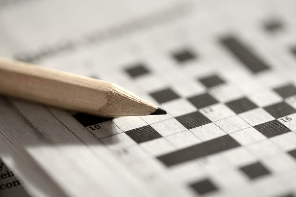 Close up view of a blank crossword puzzle grid