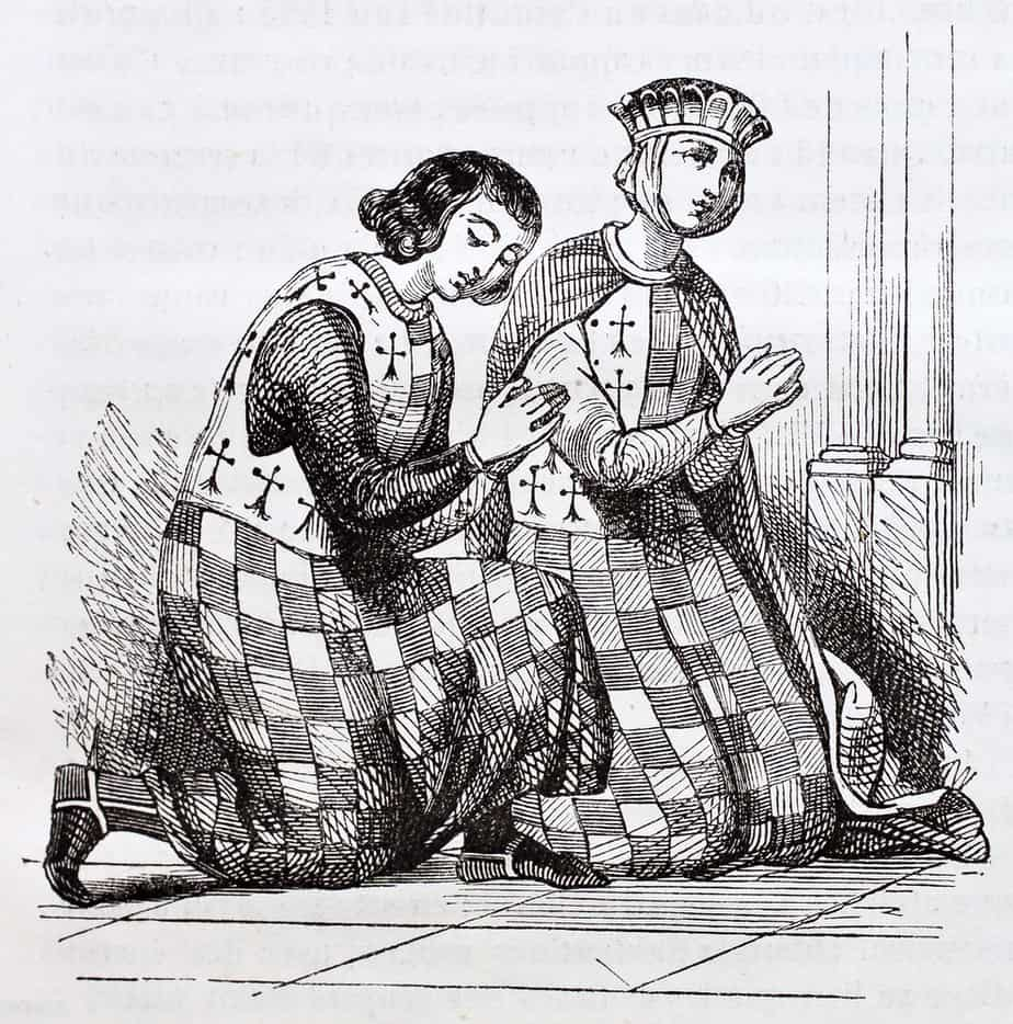 French medieval costumes old illustration - man and woman in checked costumes