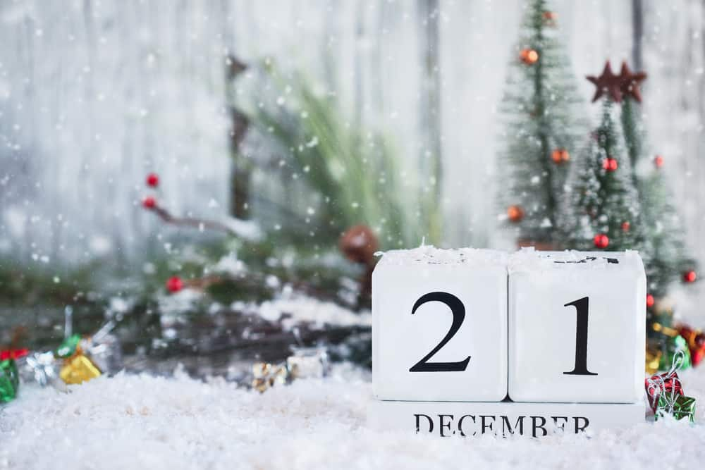 White wood calendar blocks with the date December 21st