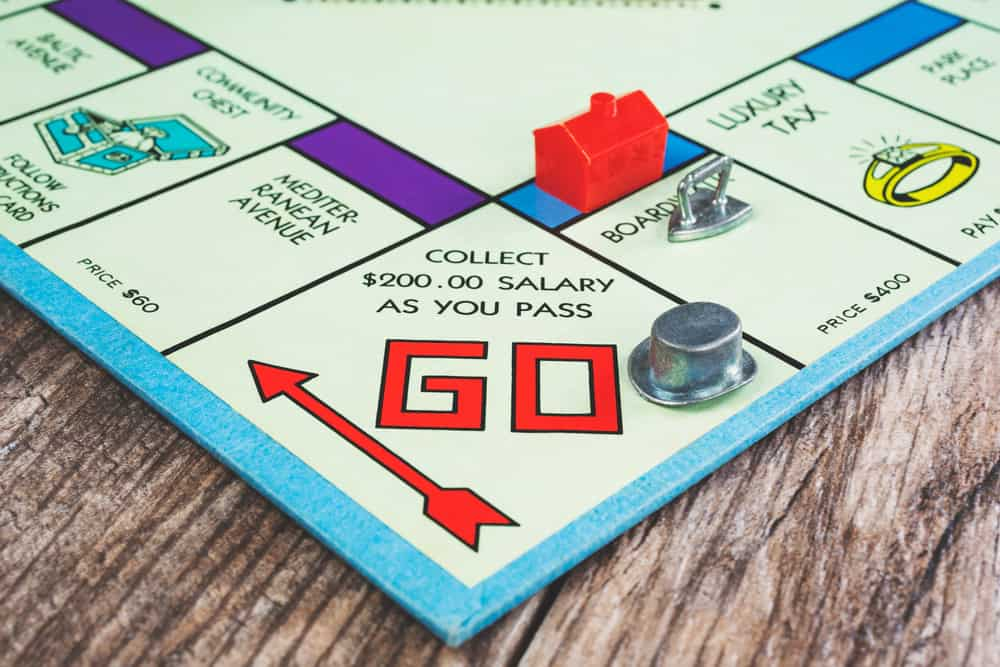 A view of a top hat token on the Go square on a classic Monopoly board game