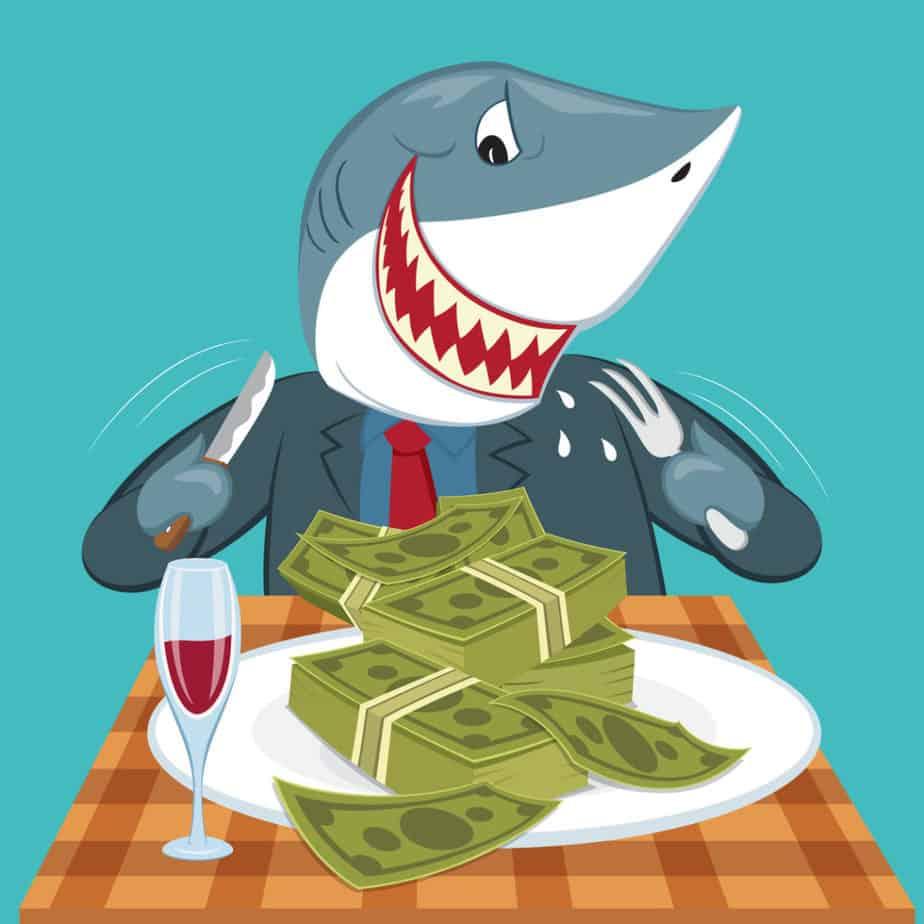Cartoon Hungry business shark eat money