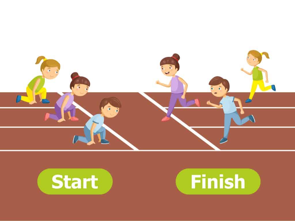 Cartoon characters illustration on a race