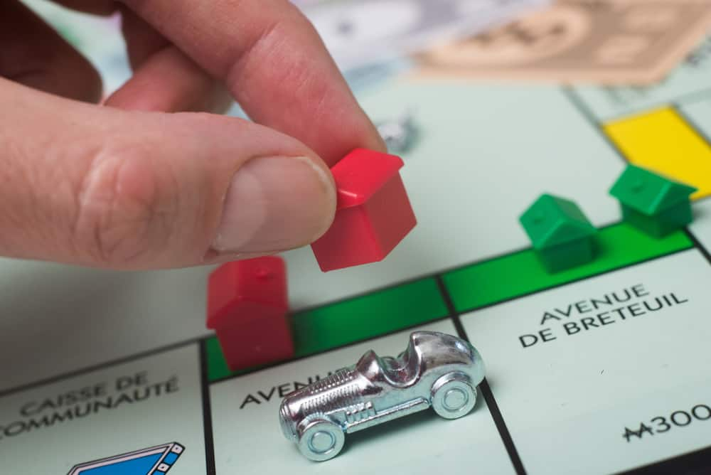 Closeup of the famous fast-dealing property trading monopoly board game