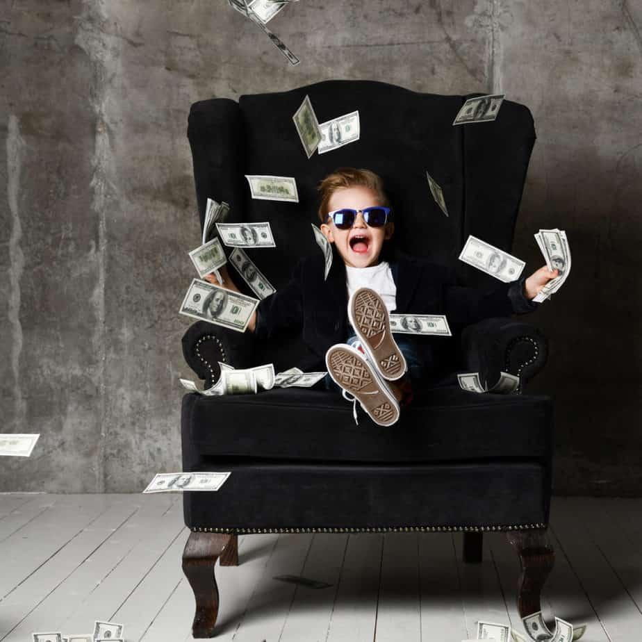 Happy and shoutting arrogant rich kid