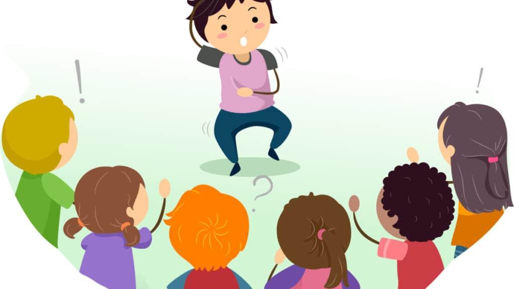 Illustration of Kids Playing Charades