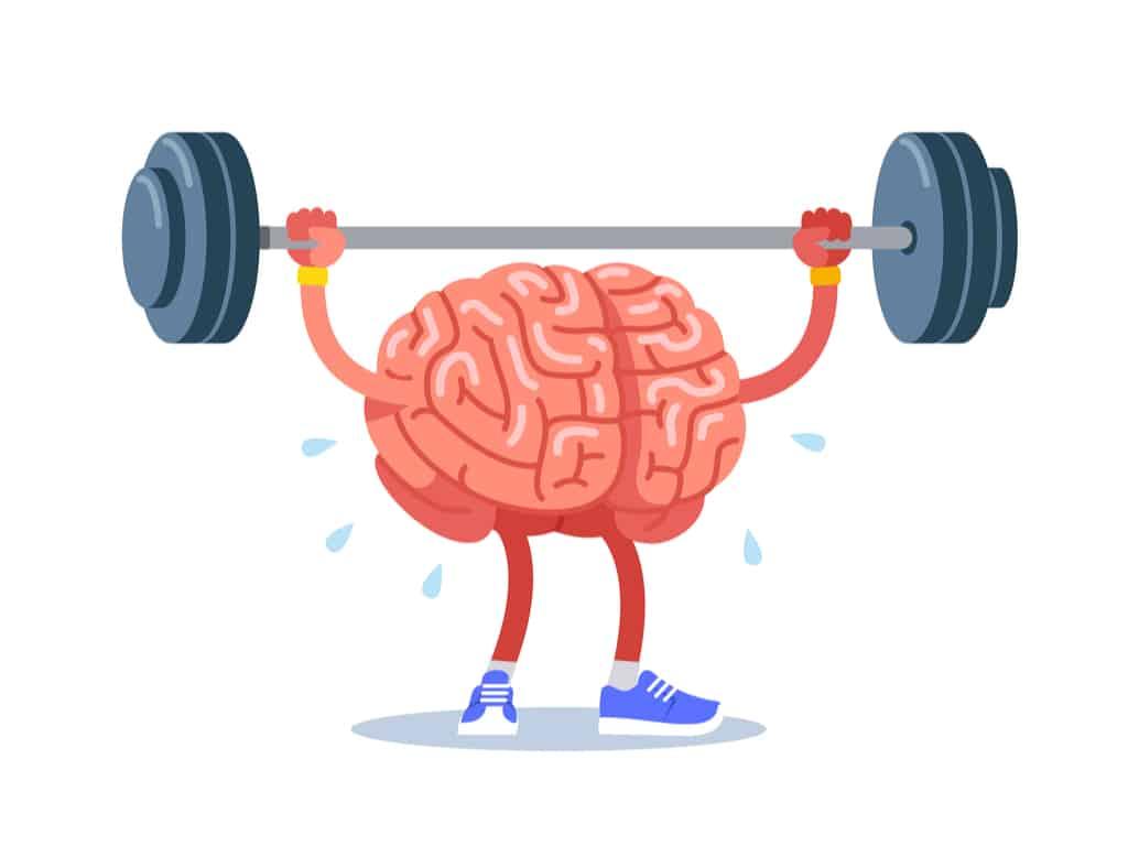 Illustration of cartoon of brain training