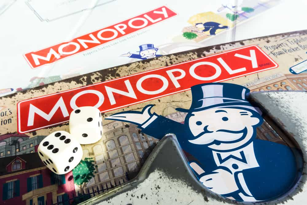 Monopoly Board Game close up with the box, board and dices