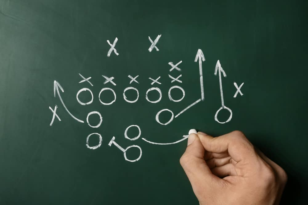 Offensive - Man drawing football game scheme on chalkboard