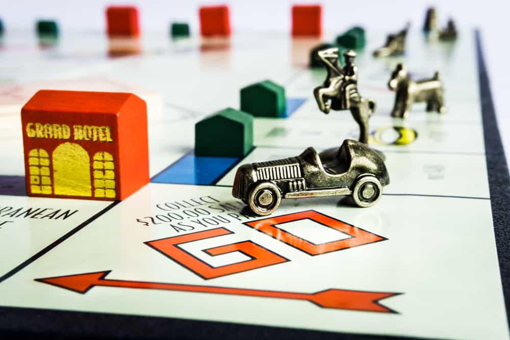 close view of Monopoly board game from Parker Brothers