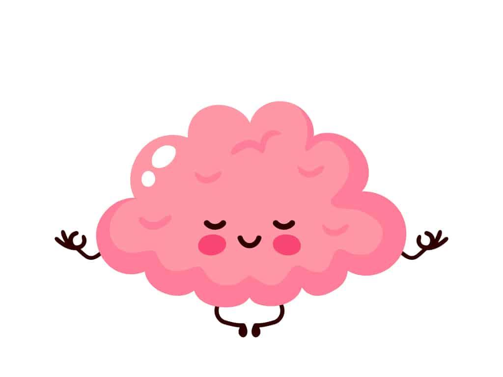 Cartoon of healthy happy human brain relaxing and meditating