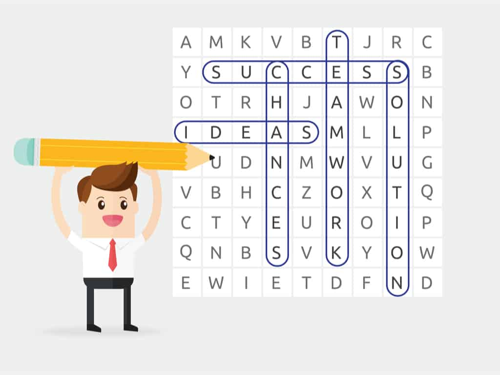 Cartoon playing word search puzzle