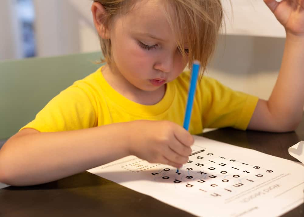 Child learning to read and write. Cross word puzzle game