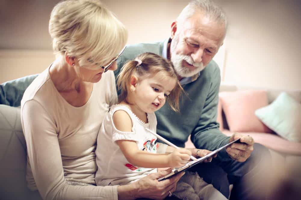 Grandparents spending time with grandkid