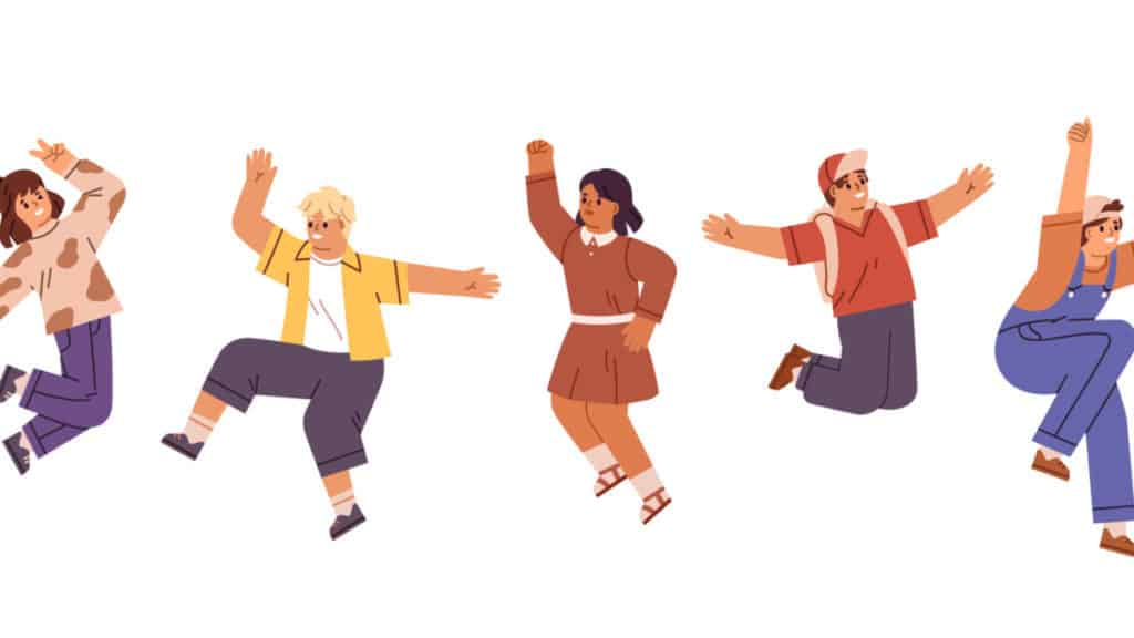 Happy children jumping with raised hands