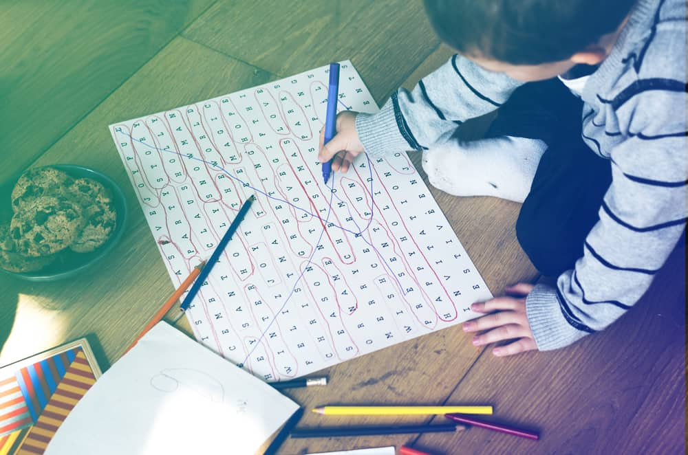 Kid spends time doing word searches