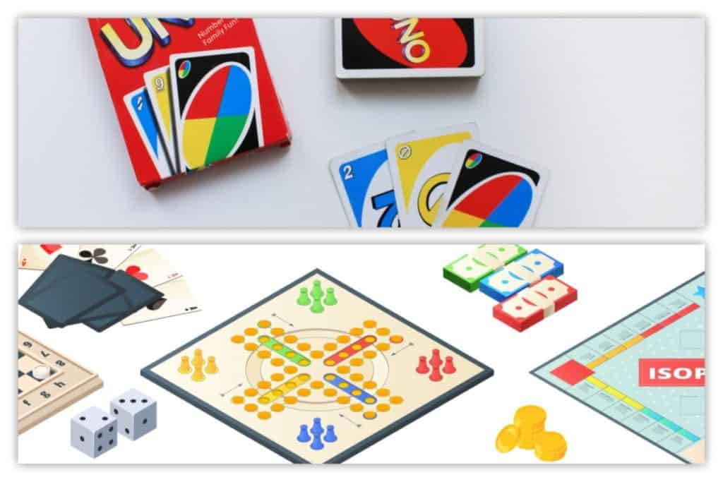 Uno cards and board games