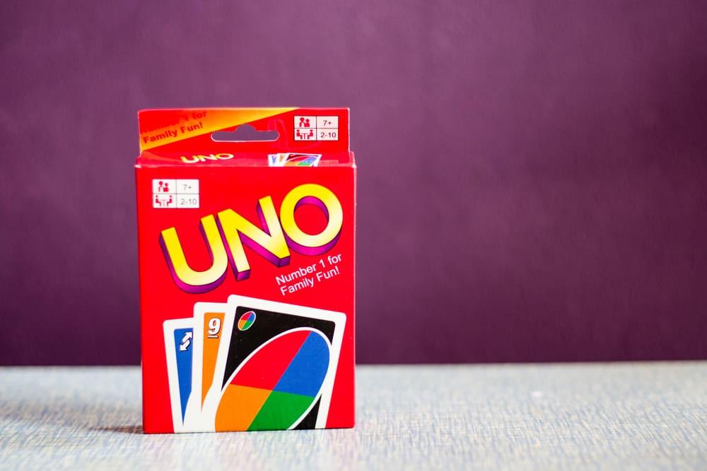 Uno game box, popular card game