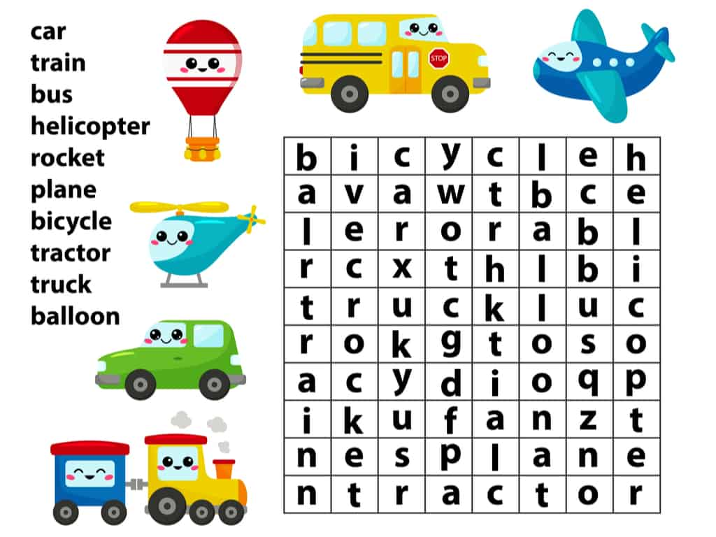 Word search game example