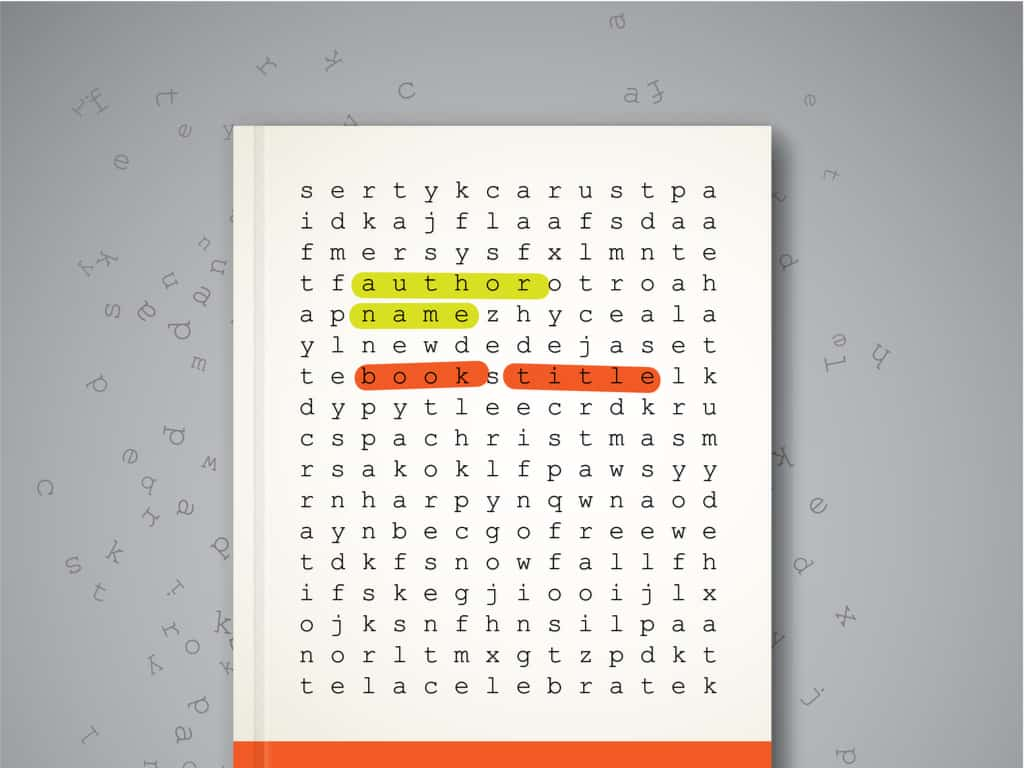 Word search puzzle on book cover