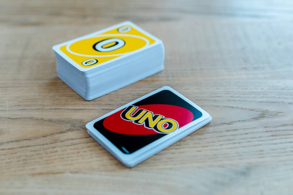 uno card game on wooden table