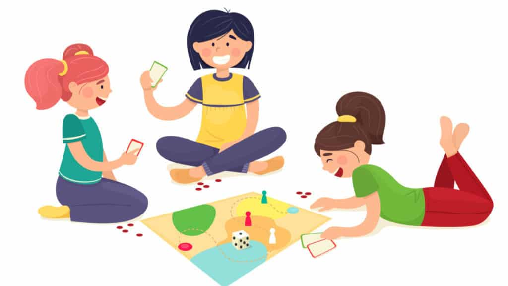 Friends play board games on the floor