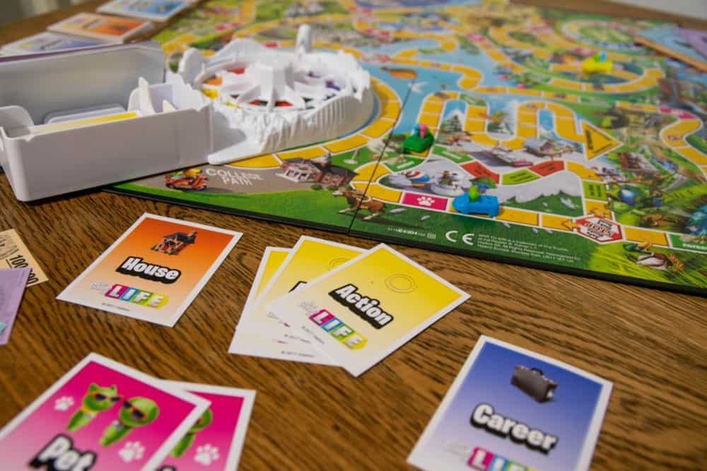 Game of Life by Hasbro. Board game were players choose important life decisions