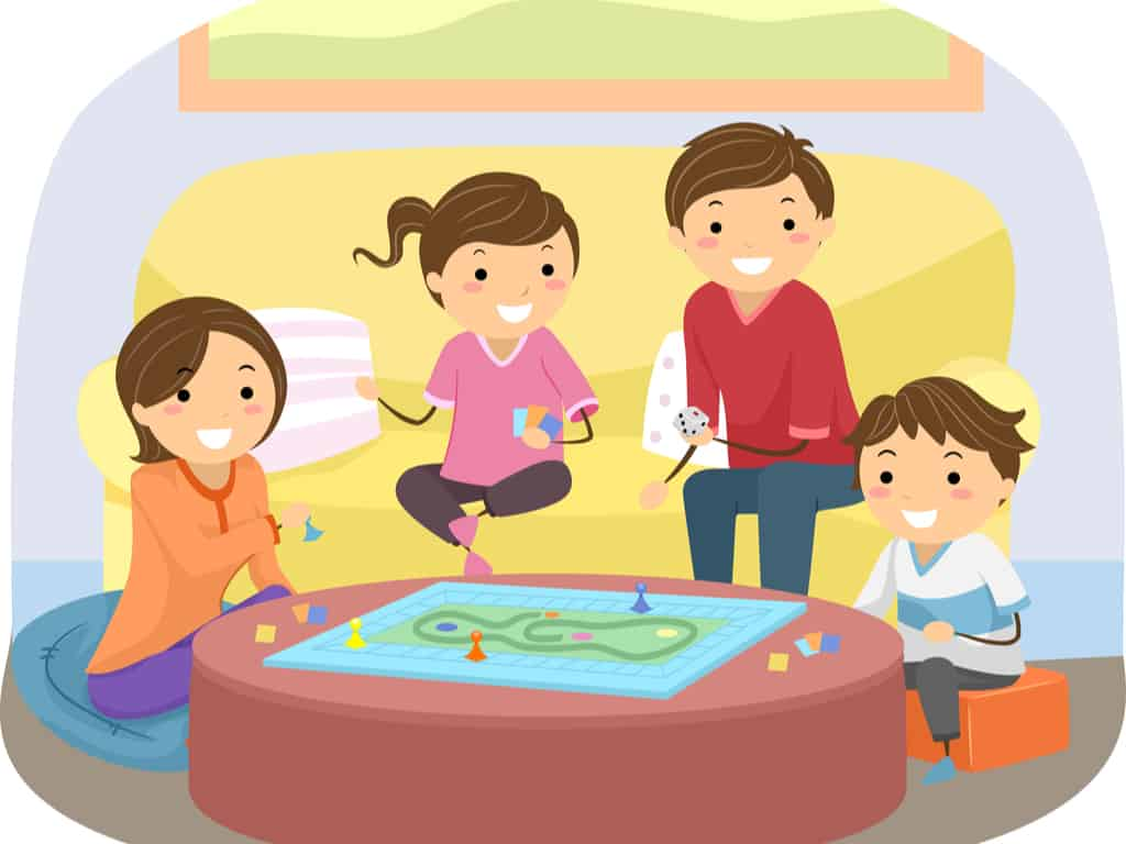 Illustration of Family Playing Board Game in their Living Room at Home