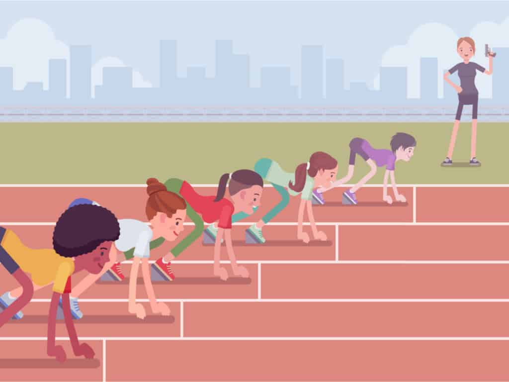 Illustration of Female athletes ready for competition