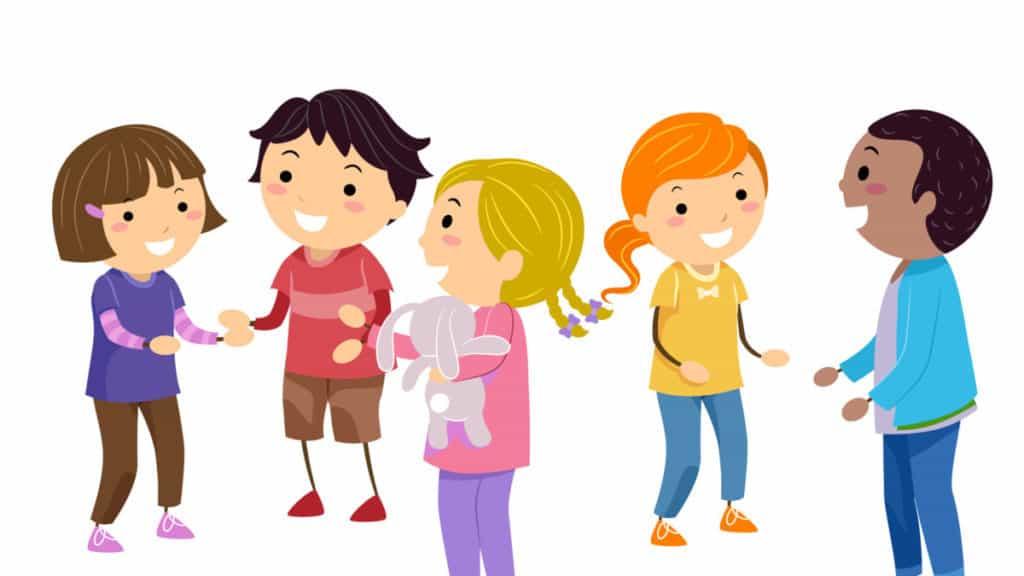 Illustration of Kids Practicing Social Skills