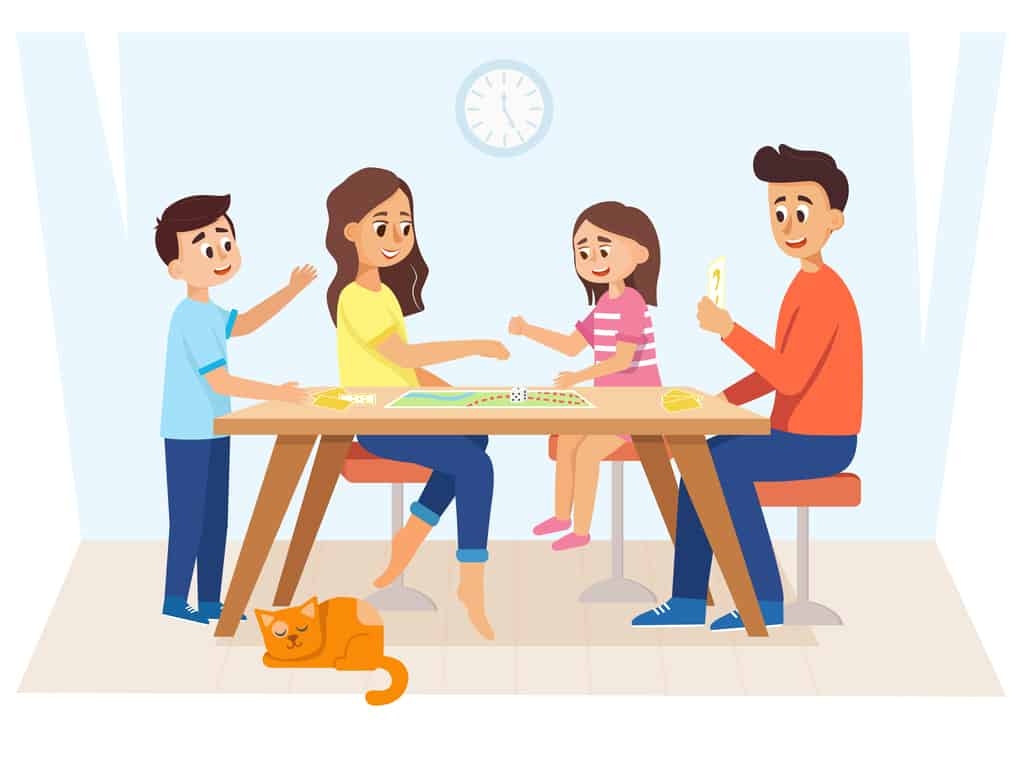 Illustration of family of 5 playing a board game