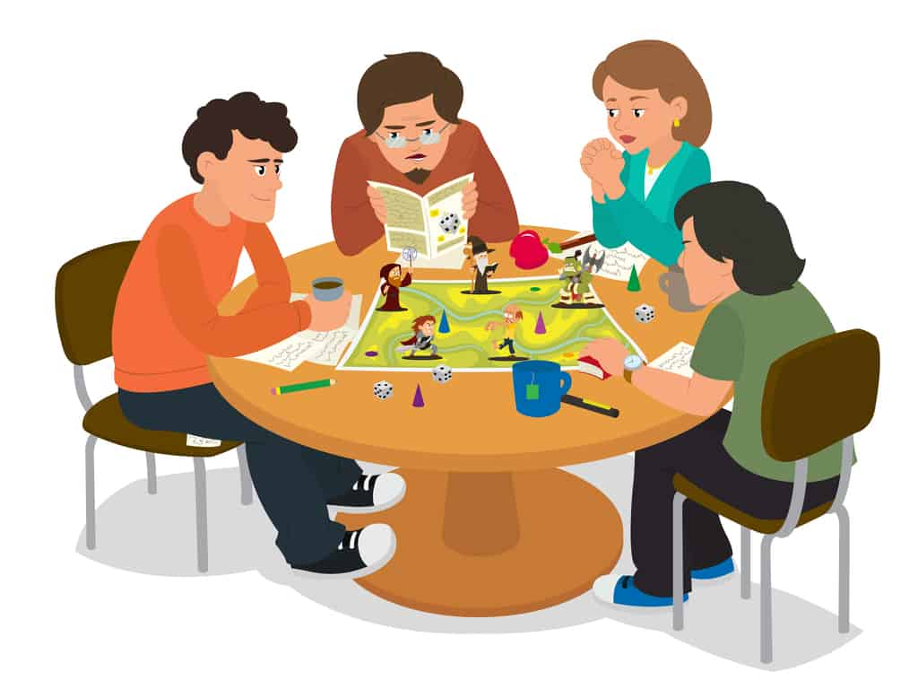 Illustration of friends playing a board game