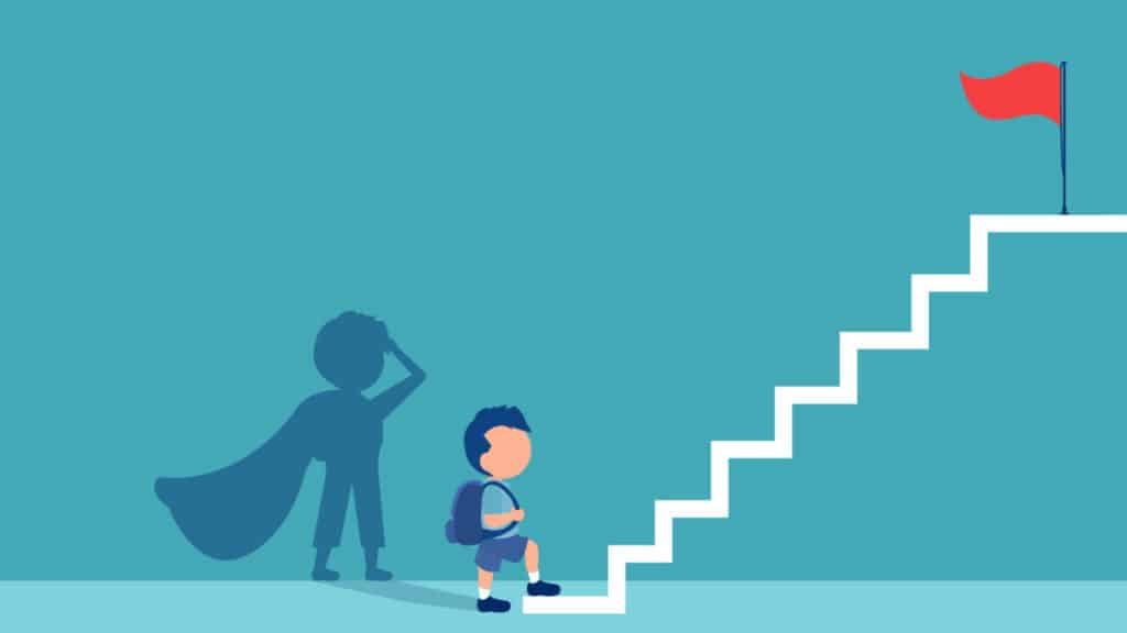 Vector of boy with a super hero shadow climbing up stairs to reach his goal