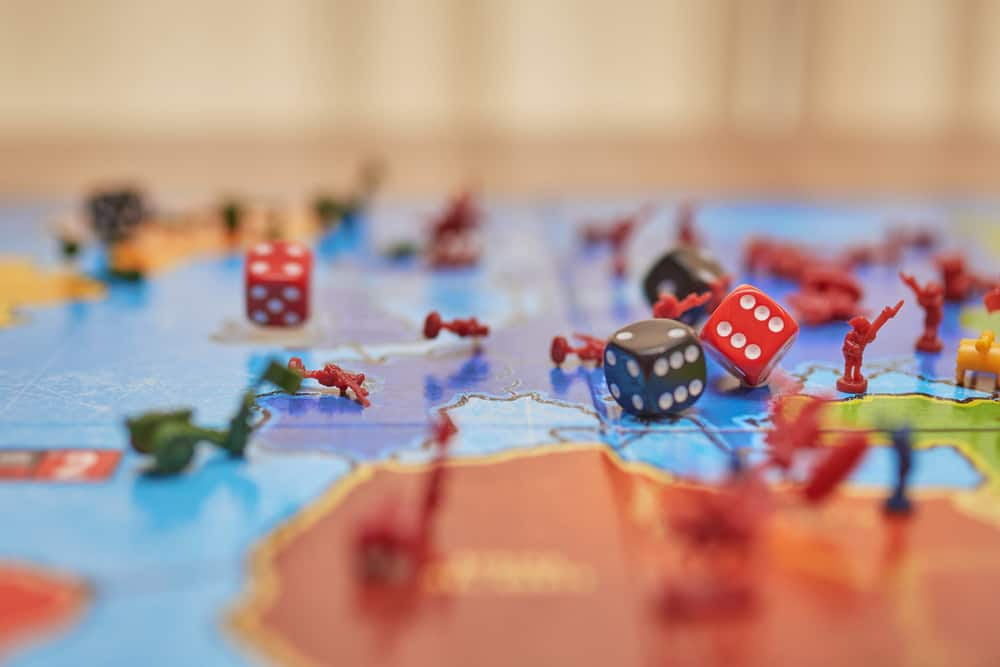 Board game, lots of figures from the Risk game