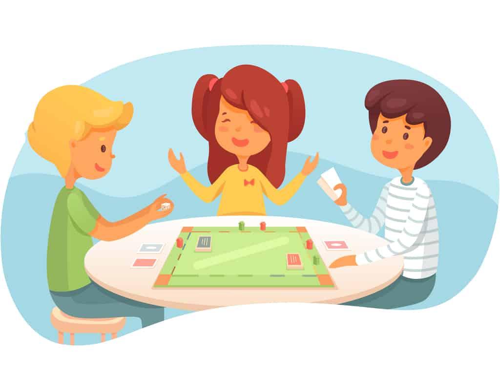 Children playing board game illustration