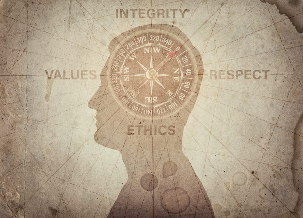 Concept of moral compass - ethics, integrity, values, and respect