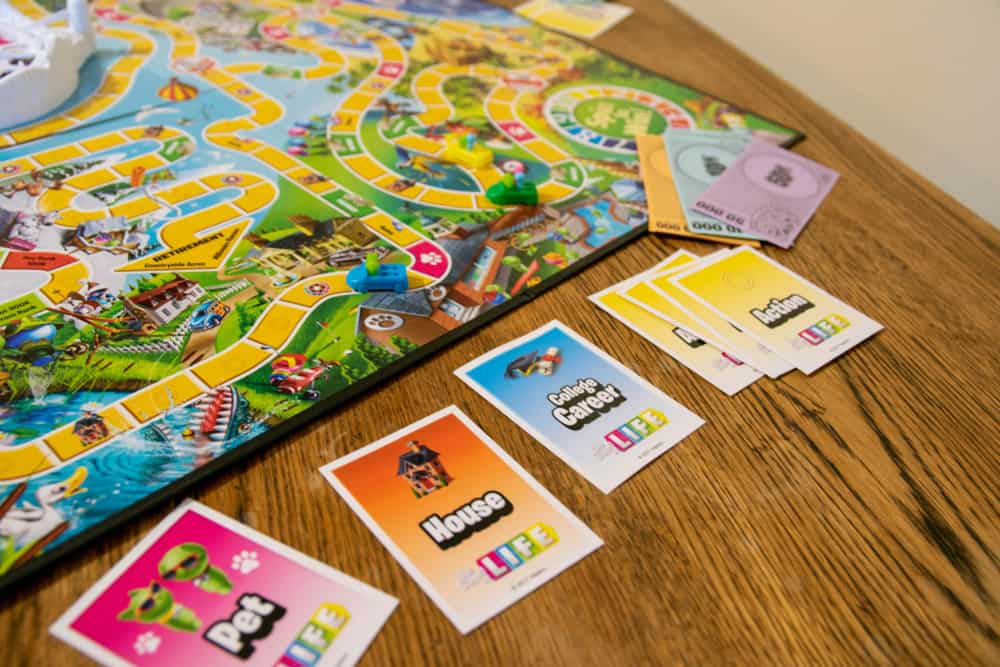 Game of Life. Board game were players choose important life decisions