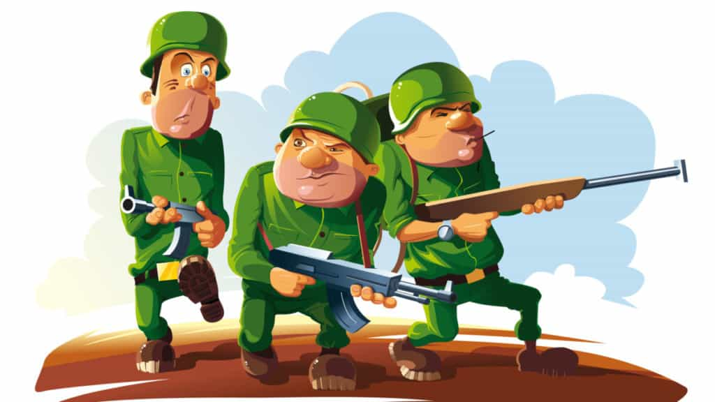 Illustration of Three armed soldiers