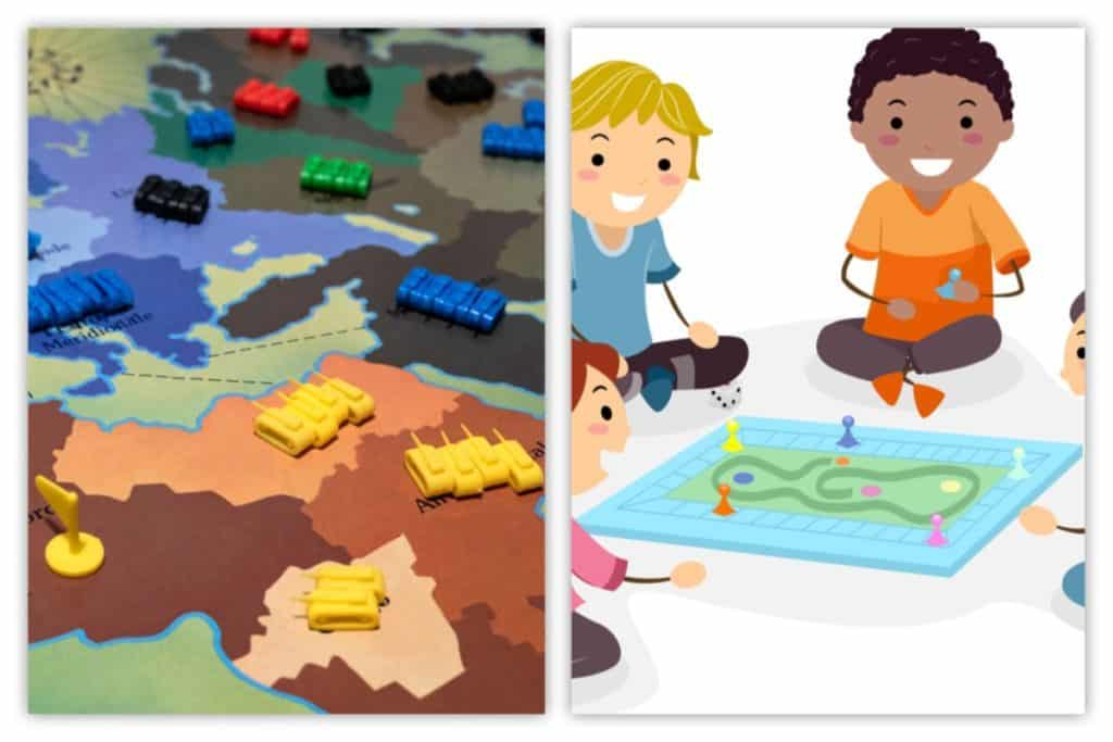 Kids playing board game (Risk)